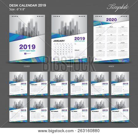 poster of Set  Blue Desk Calendar 2019 Year Size  6 X 8 Inch Template-1