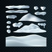 Vector Set Of Snow Caps, Icicles, Snowball And Snowdrift Isolated On Transparent Background. Winter  poster