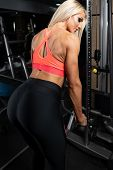 Fitness Woman Doing Heavy Exercise For Triceps poster