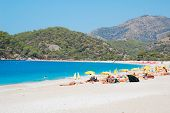 stock photo of world-famous  - World famous Oludeniz beach on the southern Mediterranean coast of Turkey - JPG