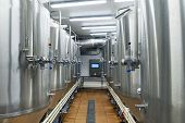 Modern Automated Beer Factory. Lines Of Metal Tanks In Modern Brewery. Shopfloor With Brewery Facili poster