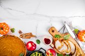 Thanksgiving Holiday Table With Traditional Festive Food - Turkey, Pumpkin Pie, Pumpkins, Green Bean poster