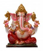 Golden Hindu God Ganesha over a white background