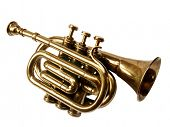 Vintage trumpet BB over white background (front view)