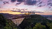 Spoleto On Sunset. Ponte Delle Torri Medieval Bridge And Rocca Albornoziana Hilltop Fortress, Provin poster