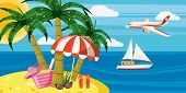 Sea Rest Banner Horizontal Concept. Cartoon Illustration Of Sea Rest Banner Horizontal For Web poster