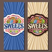 Vector Banners For Sweets, Leaflets With Pile Of Cartoon Gourmet Baked Goods, Original Brush Typefac poster
