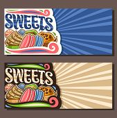 Vector Banners For Sweets With Copy Space, Leaflet With Cartoon Gourmet Baked Goods, Liquorice Candi poster