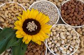 foto of mixed nut  - Mixed nuts and sunflower - JPG
