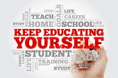 Keep Educating Yourself Word Cloud Collage, Education Business Concept Background poster