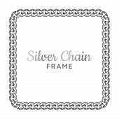 Silver Chain Square Border Frame. Silver Chain Square Border Frame. Rectangle Wreath Shape. Jewelry  poster