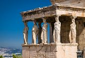 Erechtheion temple with Caryatid Porch, Athens, Greece. Panoramic view of ruins on the Acropolis of  poster