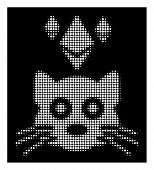 Halftone Pixel Ethereum Crypto Kitty Icon. White Pictogram With Pixel Geometric Structure On A Black poster