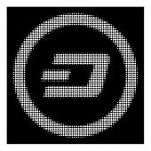 Halftone Pixelated Dash Rounded Icon. White Pictogram With Pixelated Geometric Pattern On A Black Ba poster