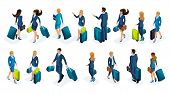 Isometry Large Set Of Businessmen And Business Lady On A Business Trip, With Luggage At The Airport, poster