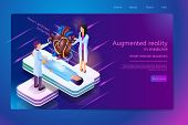 Augmented Reality In Medicine Heart Disease Diagnosis Isometric Web Banner With Lying Patient And Do poster