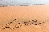 Word LOVE on sand