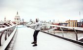 Young Active Black Sportsman Exercising With Elastic Rubber Bands In London. poster