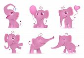 Adorable Elephants. Cute And Funny Happy African Baby Animals Love Emotions Vector Cartoon Character poster
