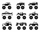 Monster Truck Automobile. Big Tires And Wheels Off Road Cartoon Car Toy For Kids Vector Monochrome B poster