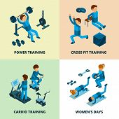 Fitness Center Isometric. Sport Athlete People Making Power And Cardio Exercise Aerobic In Gym Vecto poster
