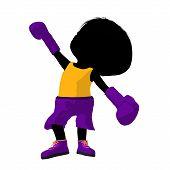 Little Boxer Girl Illustration Silhouette