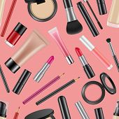 Vector Realistic Makeup Elements Pattern Or Background Illustration. Makeup Beauty And Glamour Cosme poster