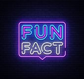 Fun Fact Neon Sign Vector. Facts Design Template Neon Sign, Light Banner, Neon Signboard, Nightly Br poster