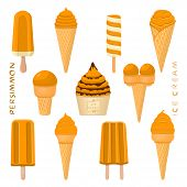 Vector Illustration For Natural Persimmon Ice Cream On Stick, In Paper Bowls, Wafer Cones. Ice Cream poster