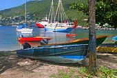 Boats moored in Admiralty Bay, Bequia, an island close to St. Vincent and the Grenadines in the Cari