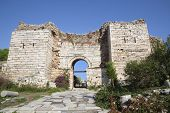 Ruins of the arch of the Gate of Persecution of the St. Johns Basilica  on Ayasuluk Hill, Selcuk, Ep