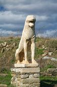 An ancient statue of a lion in the Terrace of the Lions, Delos island, Greece.