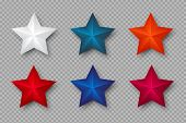 Set Of 3d Stars In Colors Of Usa. Decorative Elements For National American Holiday Design. Isolated poster
