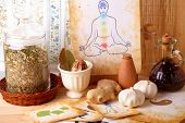Traditional alternative therapy or medicine, also concept of healthy lifestyle, silhouette of man wi