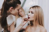 Blond Girl In Beauty Salon. Burgundy Color Lipstick. Makeup In Beauty Salon. Colors Lips. Woman And  poster