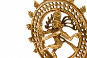 stock photo of bharata-natyam  - Indian hindu god Shiva Nataraja Lord of Dance isolated on white close up - JPG