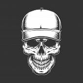 Vintage Skull Head In Baseball Cap In Monochrome Style Isolated Vector Illustration poster