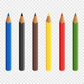 Six Colored Pencils Isolated On Transparent Background. Pencils Draw. Baby Colorful Colored Pencils. poster
