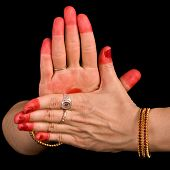 Woman hand showing Chakra  hasta of indian classic dance Bharata Natyam