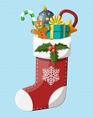 Christmas Sock Stocking With Holly, Gift Box, Gingerbread Man, Glass Ball Candy Cane. Happy New Year poster