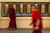 Buddhist monk (llama) passing and rotating prayer wheels on kora around Tsuglagkhang complex in McLe
