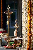 Oil lamps at indian wedding ceremony