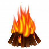 Bonfire Icon. Realistic Illustration Of Bonfire Vector Icon For Web Design poster