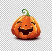 Happy Halloween. Vector Halloween Pumpkin In Cartoon Style. Smiling Happy Face Halloween Pumpkin Iso poster