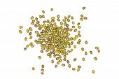Lot Of Whole Dry Green Mung Beans Heap Flatlay Isolated On White Background poster