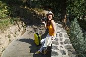 Laughing Traveler Tourist Woman In Casual Clothes Hat With Suitcase City Map Holding Retro Vintage P poster