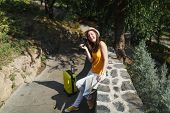 Joyful Traveler Tourist Woman In Casual Clothes, Hat With Suitcase, City Map Holding Retro Vintage P poster