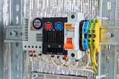 In The Electrical Cabinet Circuit Breaker, Thermostat, Terminals. Modern Reliable Equipment To Contr poster