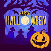 Halloween Full Moon Concept Background. Hand Drawn Illustration Of Halloween Full Moon Vector Concep poster