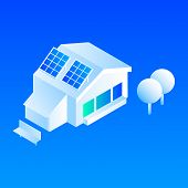 Smart House Solar Panel Icon. Isometric Of Smart House Solar Panel Vector Icon For Web Design Isolat poster